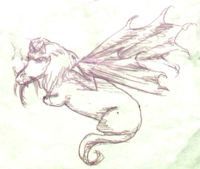 Bic pen on postit, c. 2005. My friend's dachshund as a dragon.